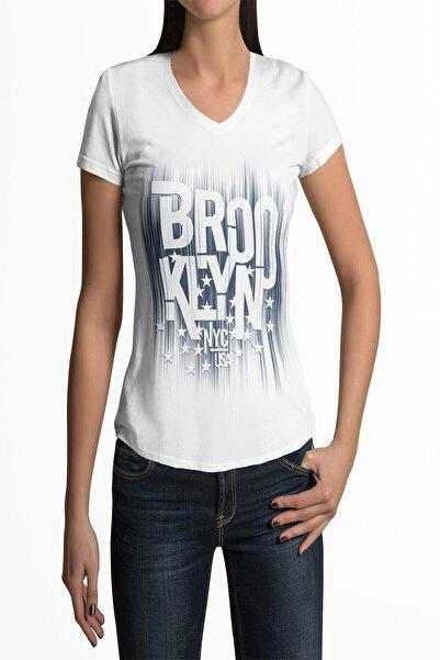 Tshigo Kadın Beyaz V Yaka T-shirt