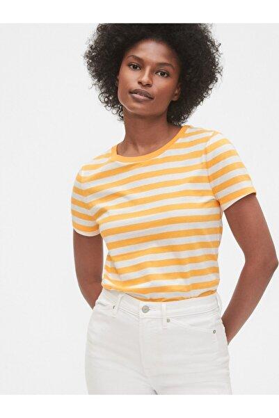 GAP Kadın Sarı Çizgili Tshirt 440732