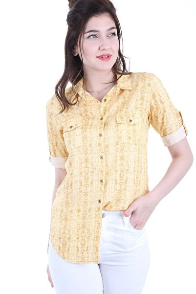 Kadın Kırçıllı Sarı Çift Kapak Cepli Gömlek 3428BGD19_242