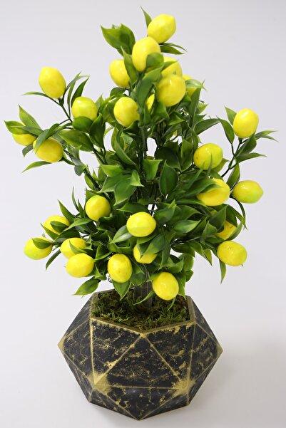 Yapay Çiçek Deposu Handmade Beton Saksıda Yapay Limon Ağacı Geometrik Gold Saksıda 40cm