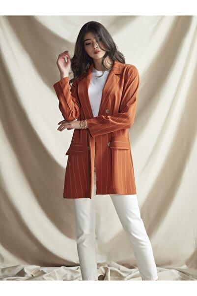 NURBANU KURAL Kadın Kiremit Renk Stil Ceket
