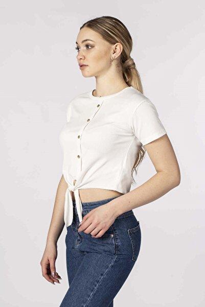 BARRELS AND OIL Kadın Ekru Fitilli Belden Bağlamalı T-Shirt