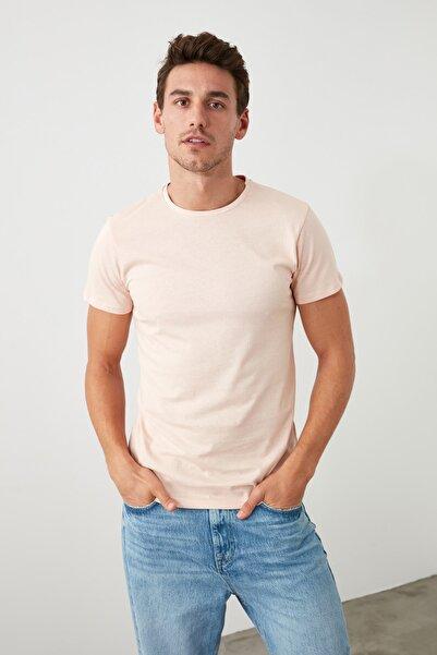 Pembe Erkek Basic Pamuklu Kısa Kollu Bisiklet Yaka  Slim Fit T-Shirt - TMNSS19BO0001
