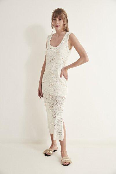 Kadın Astarlı Triko Elbise Ekru 2020S030