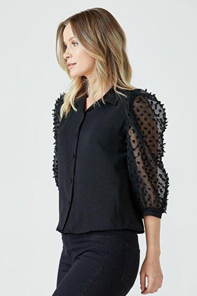 Sementa Kadın Siyah Balon Kol Gömlek