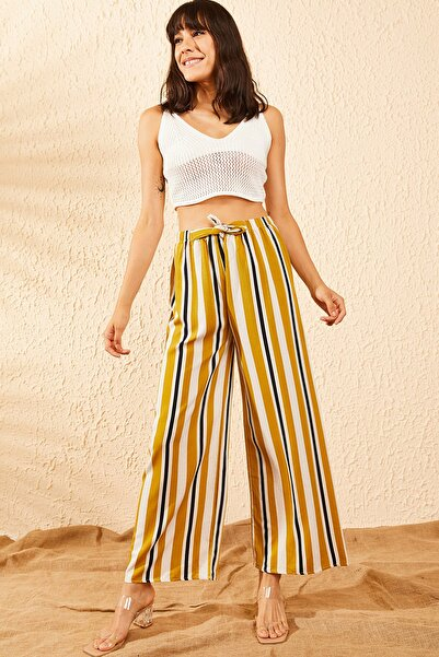 Bianco Lucci Kadın Sarı Beli Lastikli Şeritli Bol Paça Pantolon 10101001