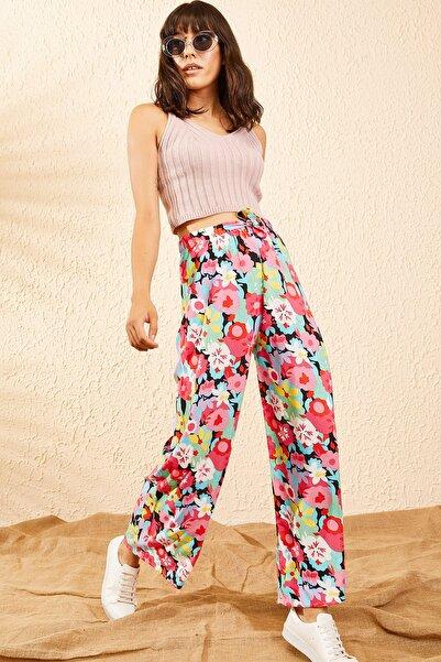 Bianco Lucci Kadın Multi Beli Lastikli Büyük Çiçek Desenli Bol Paça Pantolon 10101007
