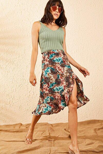 Bianco Lucci Kadın Multi Beli Lastikl Eteği Fırfırlı Çiçek Desenli Yırtmaçlı Etek 10091063