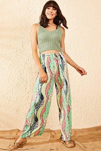 Kadın Yeşil Beli Lastikli Çiçek Şerit Desenli Bol Paça Pantolon 10101002