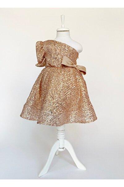 zühre balaban Kız Çocuk Sarı Tek Omuz Payetli Abiye Elbise Zb Kids