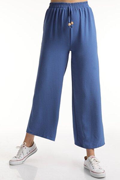 MD trend Kadın Indigo Bel Lastikli Bağcıklı Salaş Bol Pantolon Mdt6836