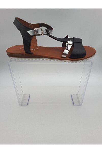 Oscar Kadın Gümüs Sandalet Içi Dışı Hakiki Deri