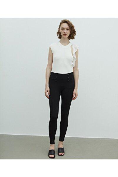 MISS IPEKYOL Kadın Siyah Düğme Aksesuarlı Pantolon