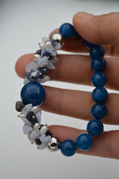 Stoneage Güzel Bayan Bileklik Ceyt Inci Ve Lapis Lazuli Taşlı El Yapımı
