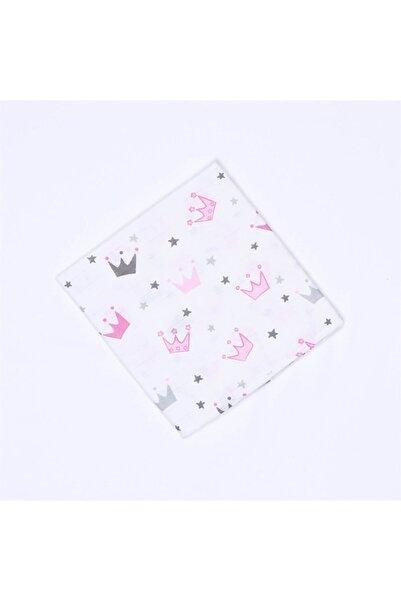 Bebe Kız Bebek Beyaz Taç Desenli Battaniye