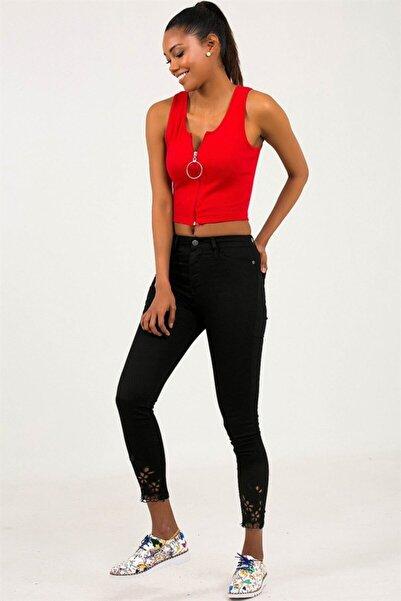 By Saygı Kadın Siyah Yüksek Bel Paçası Nakışlı Likra Pantolon