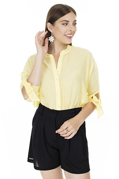 AYHAN Sarı V Yaka Bağlama Detaylı Bluz Kadın Bluz 04681399