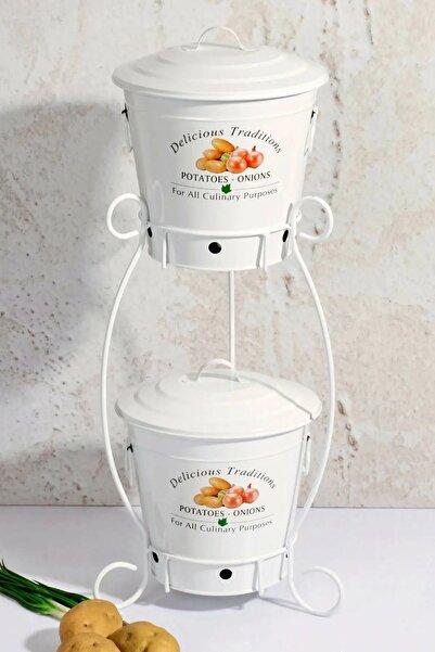 Orvila Beyaz Renk 2 Katlı Patates Soğanlık Kutusu