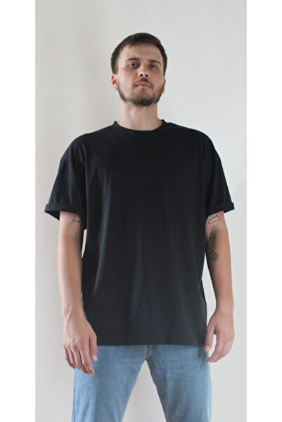 LATLANTE Oversize Kapalı Yaka Siyah T-shirt