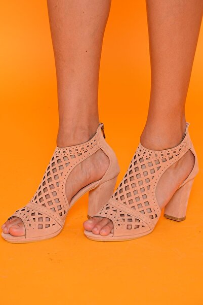 Mossta Kadın Pudra Süet Topuklu Ayakkabı