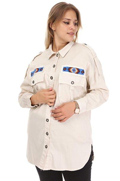 Big Free Bayan Cep Üstü İşlemeli Omuz Apolet Gabardin Gömlek