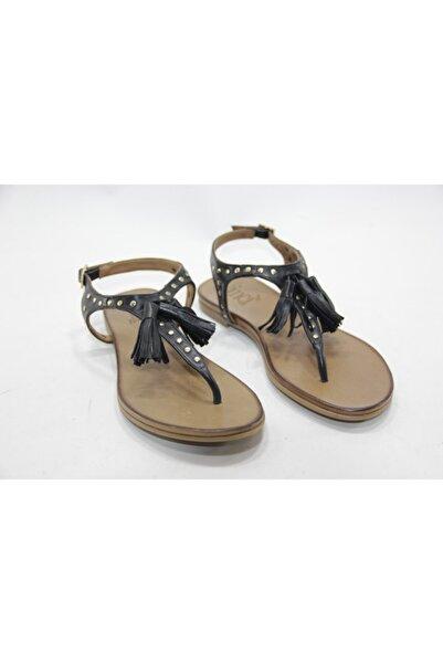 İnci Kadın Siyah Hakiki Deri Sandalet