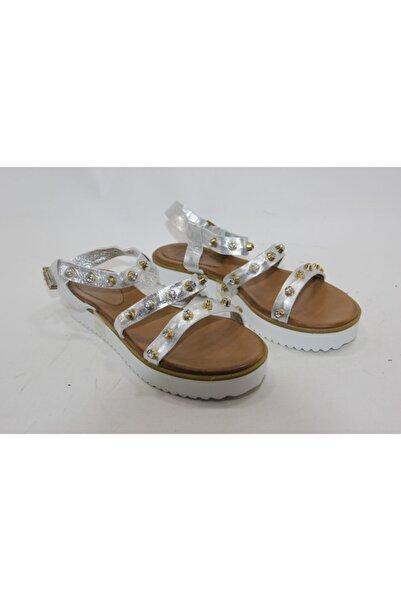 İnci Kadın Gümüş Deri Topuklu Ayakkabı