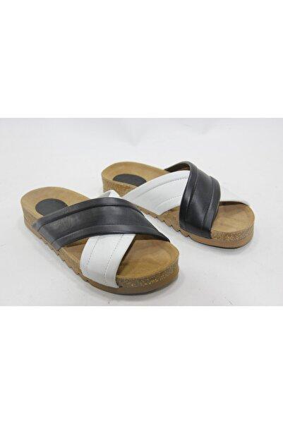 İnci Kadın Siyah Beyaz 36 Numara Hakiki Deri Topuklu Ayakkabı
