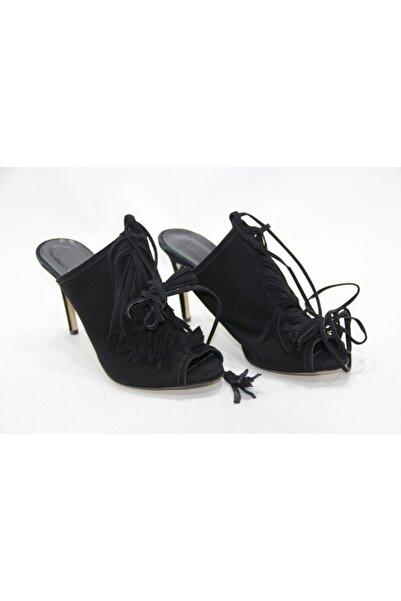 İnci Kadın Siyah Bağcık Detaylı 40 Numara Hakiki Deri Topuklu Ayakkabı