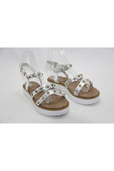 İnci Kadın Gri 39 Numara Hakiki Deri Sandalet