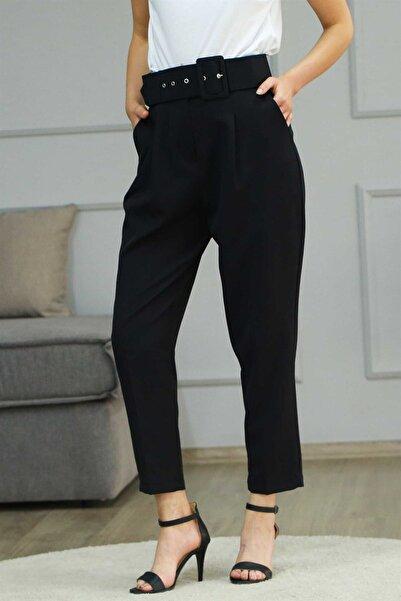 Madmext Kadın Siyah Kemerli Havuç Pantolon Mg225