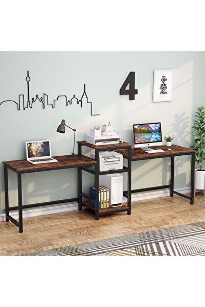 yasmak Raflı Çift Bilgisayar Masası