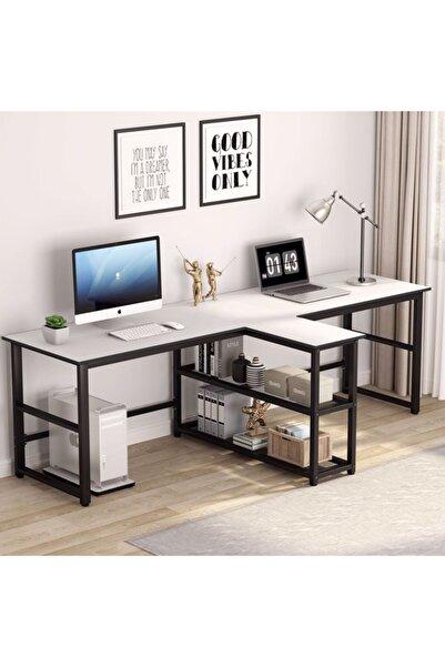 yasmak Beyaz Ekstra Uzun İki Kişilik 240 cm Bilgisayar Masası