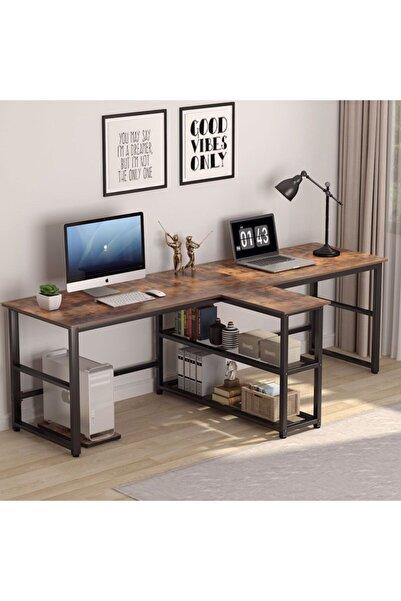 yasmak Ceviz Ekstra Uzun İki Kişilik Bilgisayar Masası 240 cm