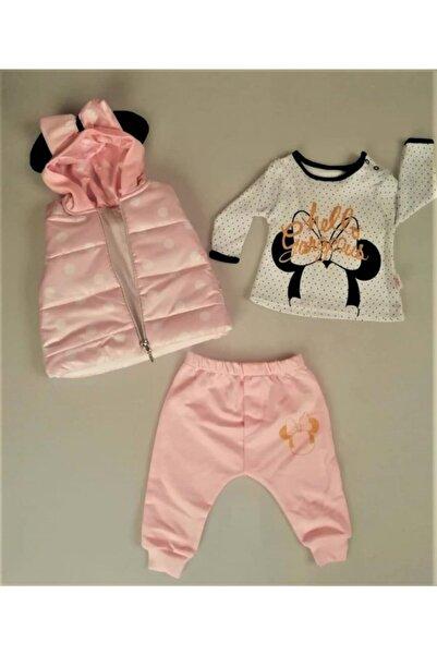 Hippıl Baby Yeni Sezon Kız Bebek Çocuk Kapüşonlu Yelekli Hello Desen Badili 3 Parça Takım-0313