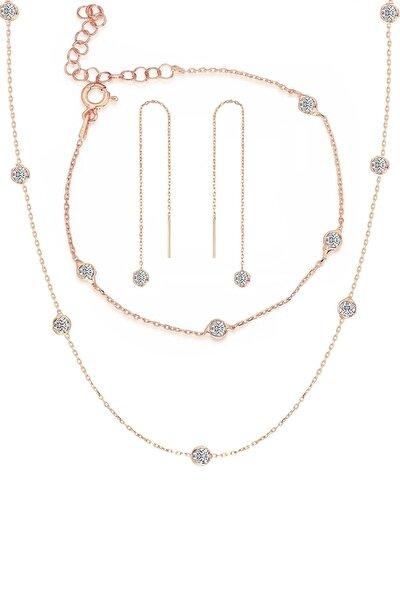 Trend Silver Gümüş Rose Zirkon Taşlı Tiffany Set Sıra Taşlı Takım Seti