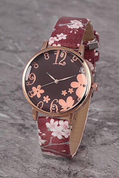 Polo55 Plkk006r05 Kadın Saat Numaralı Çiçekli Kadran Deri Kordon