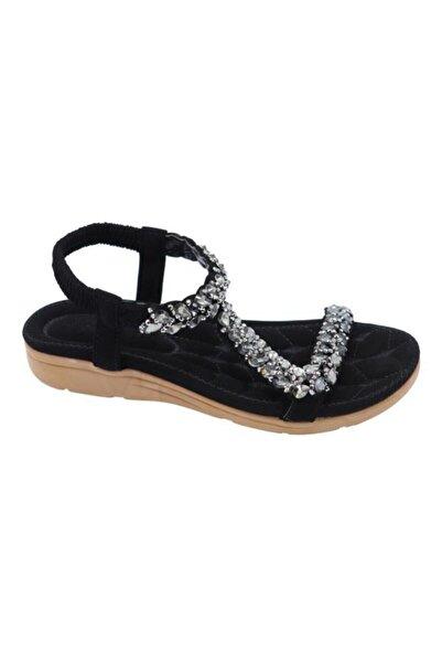 Guja Kadın Siyah Yastık Taban Kolay Giyim Sandalet 20y231-9