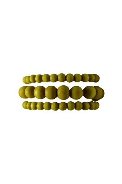 Selin 3 ' Lü Ahşap Bileklik ( Sarı Renk )