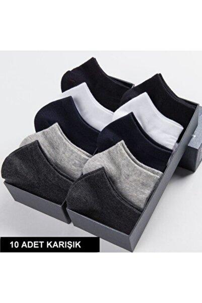 çorapmanya 10 Çift Pamuklu Dikişsiz Çok Renkli Erkek Patik Çorap Bilek Boy