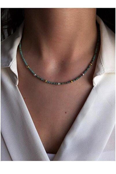 Serpil Jewellery Kadın 925 Ayar Gold-gümüş Topçuklu Turkuaz Doğaltaşlı Gümüş Kolye