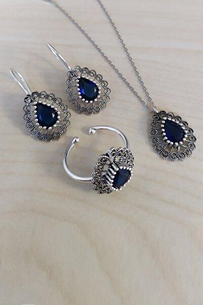Trend Silver Gümüş Oksitli Telkari Safir Taşlı Üçlü Set