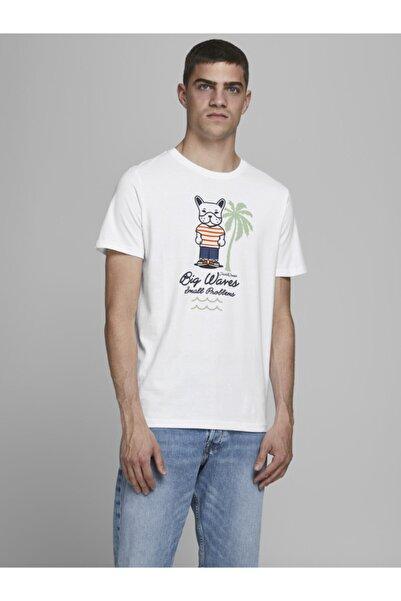 Jack & Jones Erkek Beyaz Bisiklet Yaka T-shirt