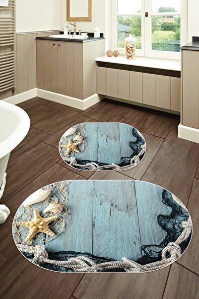 colizon 50x80 - 40x50 Dijital Banyo Halısı Oval Klozet Takımı 2'li Paspas Seti Tykob-2106