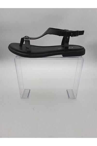 Oscar Kadın Siyah Hakiki Deri Sandalet