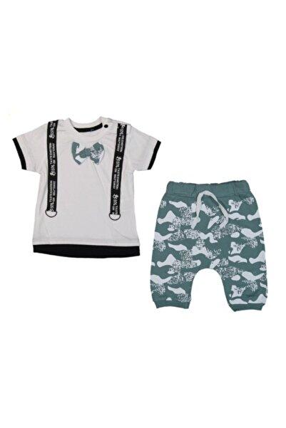 Popolin Erkek Bebek Yeşil Papyonlu Askılı Kamuflaj Takım 2989
