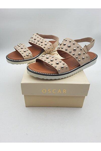 Oscar Kadın Bej Hakiki Deri Sandalet 451