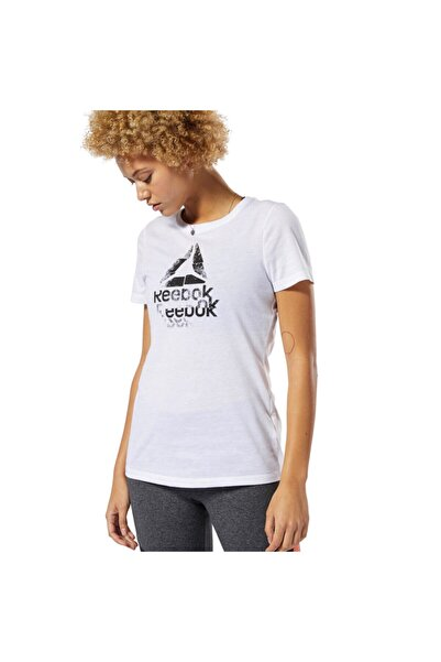 Reebok Gs Texture Logo Crew Beyaz Kadın Kısa Kol T-shirt