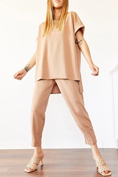 XHAN Kadın Bisküvi Rengi Krep Takım
