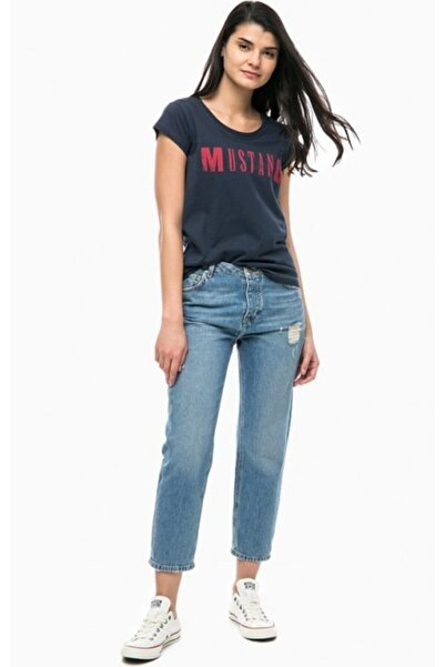 Mustang Kadın Lacivert Klasik Logo  T-shirt